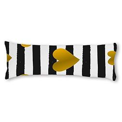 UTF4C Gold Heart Black White Stripe Cotton Body Pillow Cover