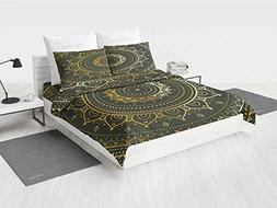 Gold Mandala ck Bedding Set Large Circular Tribal Figure Anc