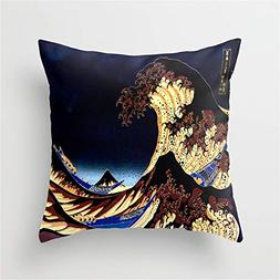 Jay94 The Great Wave Midnight Blue Brown Throw Pillow Case C