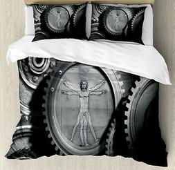 Grey Duvet Cover Set with Pillow Shams Medieval Old Human Bo