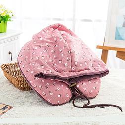 Hat Plush Cap Pillow U Type Multi-Functional Neck Pillow Wit