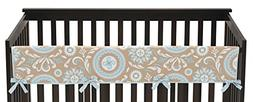 Sweet Jojo Designs Hayden Blue and Taupe Long Front Rail Gua