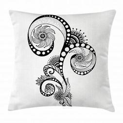 Henna Throw Pillow Case Mehndi Body Art Doodle Square Cushio