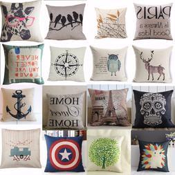 Hot Vintage Home Decor Cotton Linen Pillow Case Sofa Waist T