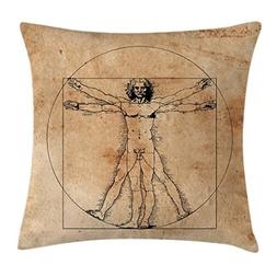 Ambesonne Human Anatomy Throw Pillow Cushion Cover, Medieval