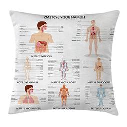 Ambesonne Human Anatomy Throw Pillow Cushion Cover, Complete