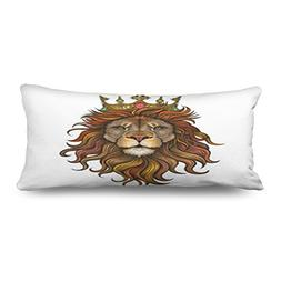 "20"" x 54"" Inches Body Pillows Covers Color King Lion Illustr"
