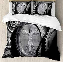 Ambesonne Industrial Decor Duvet Cover Set, Wheels of The Sy