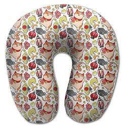 BRECKSUCH Japanese Lucky Cat Fan Koi Print U Shaped Pillow M