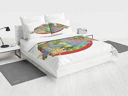 Jurassic Decor Dino Bedding Set Dinosaur Characters on Plane