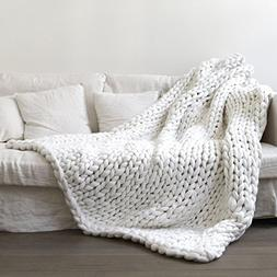 Knit Blanket Throw White - Baby Breathable  Soft for Couch G