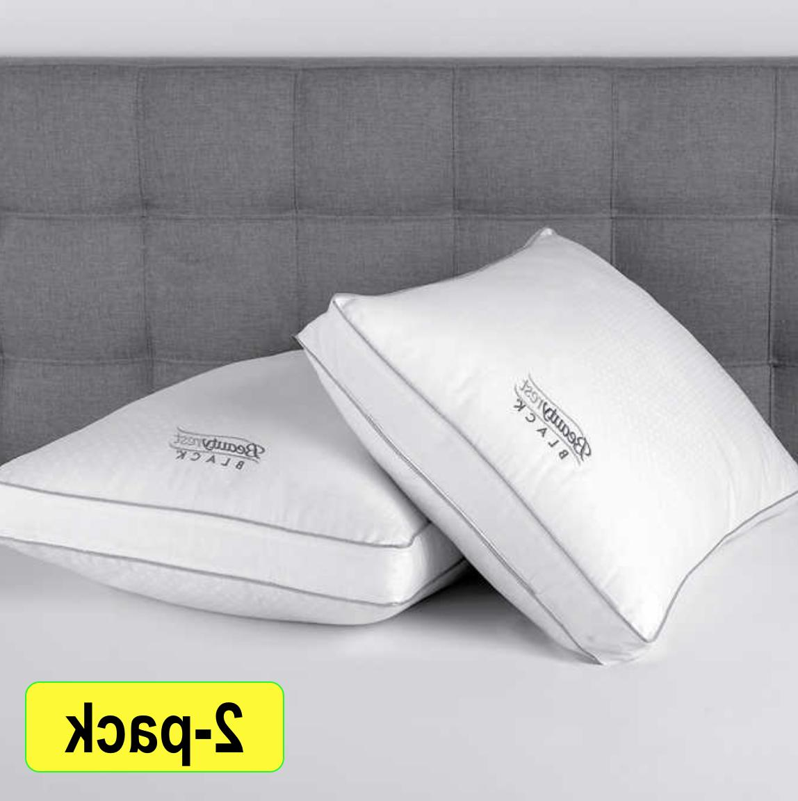 2020 Black Luxurious Down Alternative Pillows 400 Thread Queen 2Pack