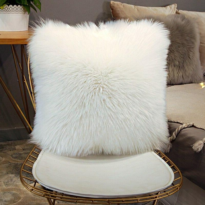 40/45/50cm Quality European Plush Wool Cushion <font><b>Faux</b></font> <font><b>Fur</b></font> <font><b>Pillow</b></font> inner