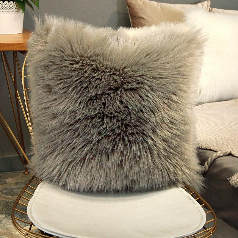40/45/50cm Quality European Plush <font><b>Pillow</b></font> Wool Cushion <font><b>Faux</b></font> <font><b>Fur</b></font> Sofa Bed <font><b>Pillow</b></font> inner