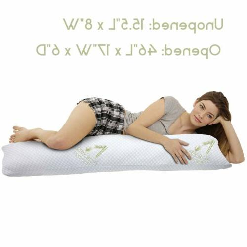 "46"" Hypoallergenic Aloe Bamboo Memory Foam Full Body Pillow"