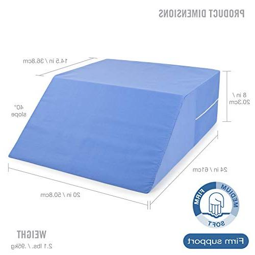 """DMI Bed Elevated Leg Pillow, Foam Wedge for Elevating Reducing Back Post Surgery and Injury, Recovery, Blue, x 20"""" x 24"""""""
