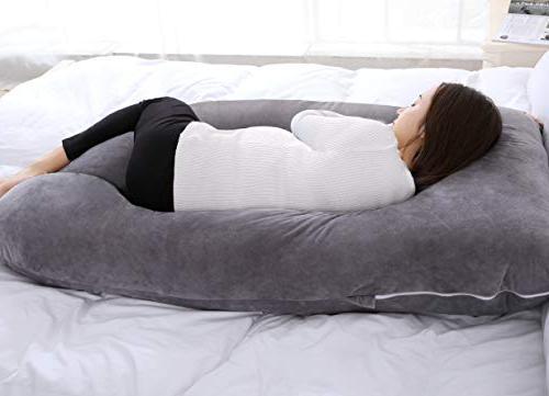 "QUEEN 55"" Pillow U Body Pillow with Velvet Cover, Gray"