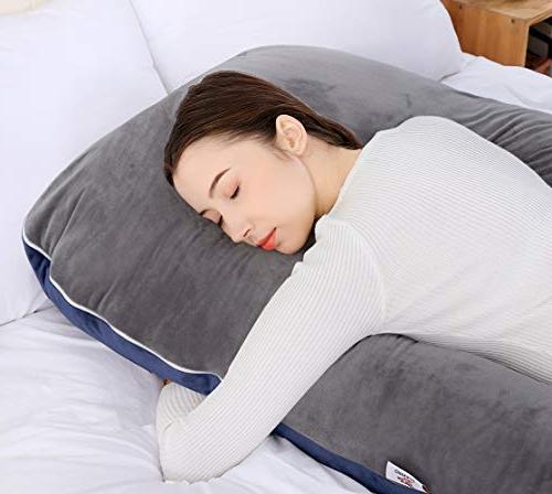 QUEEN Pillow Pillow with Velvet Cover-U Maternity Gray