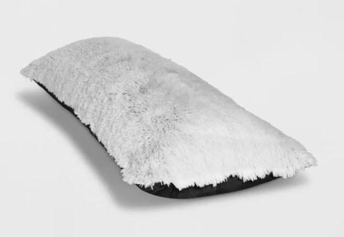 body pillow cover white black faux fur