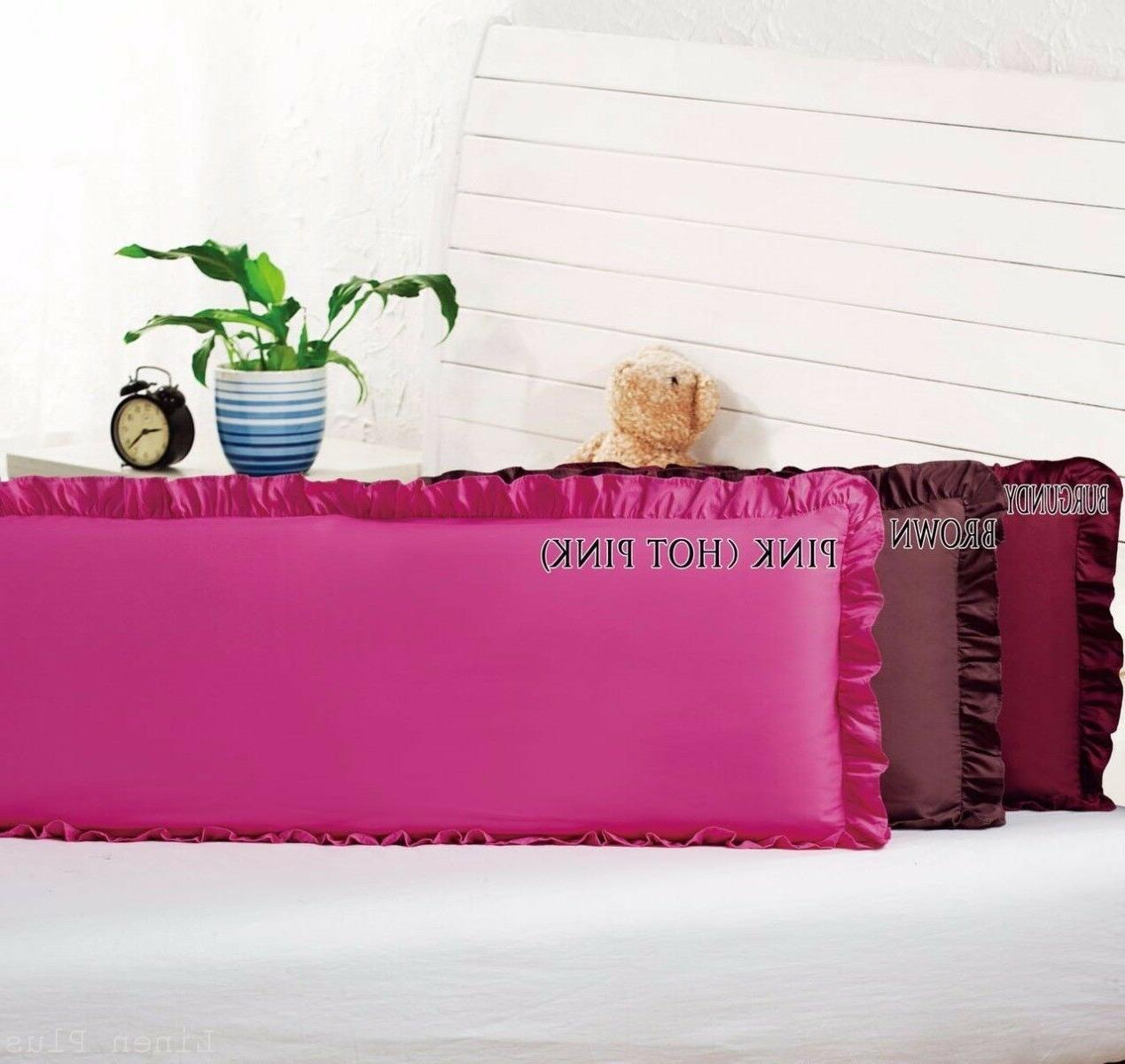 Body Pillow Ruffled Solid Burgundy Cover Case Decorative 20""
