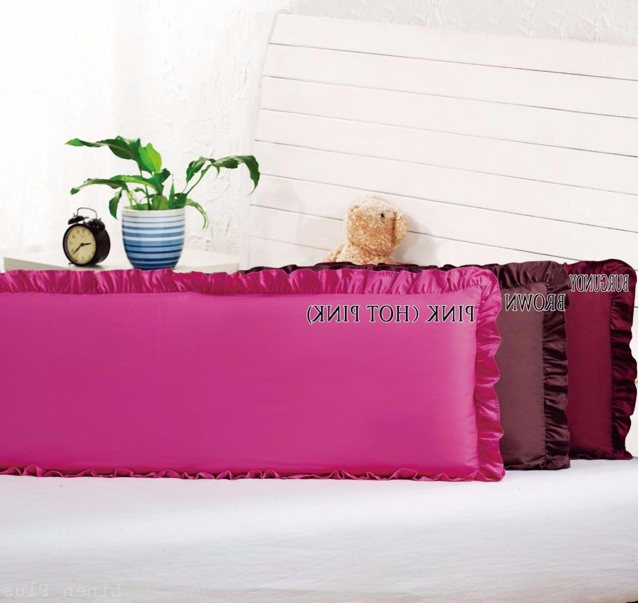 "Body Pillow Ruffled Solid Pink Cover Case Decorative 20""x54"""