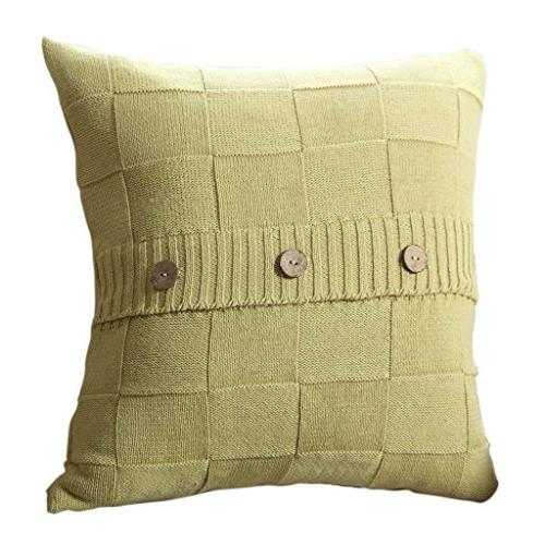 cable knit cotton throw pillow