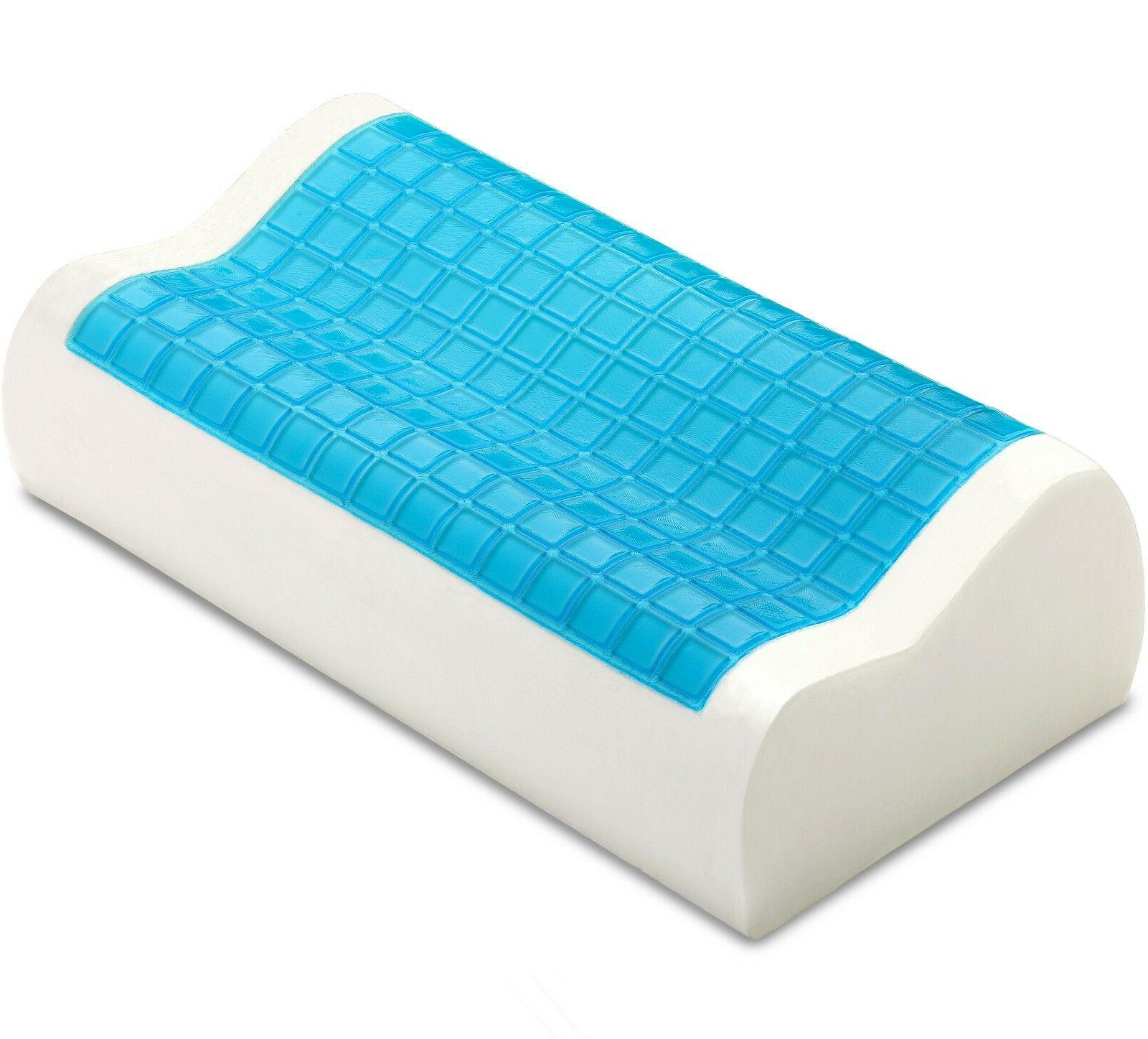 PharMeDoc Contour Memory Foam Pillow with Cooling Gel and Re
