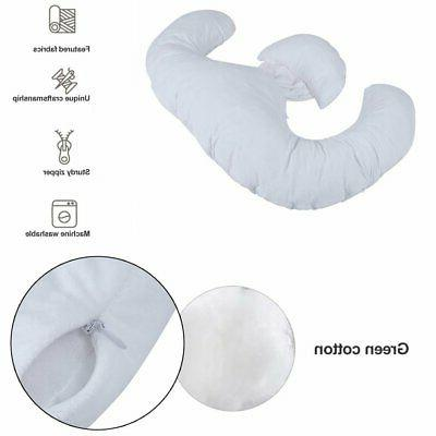 Pregnancy Pillow Maternity Belly Contoured E Shape Extra Pregnant -White 5U