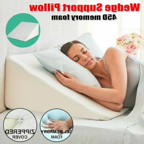 Elevating Bed Pillow Reflux Pain Support w/Cover