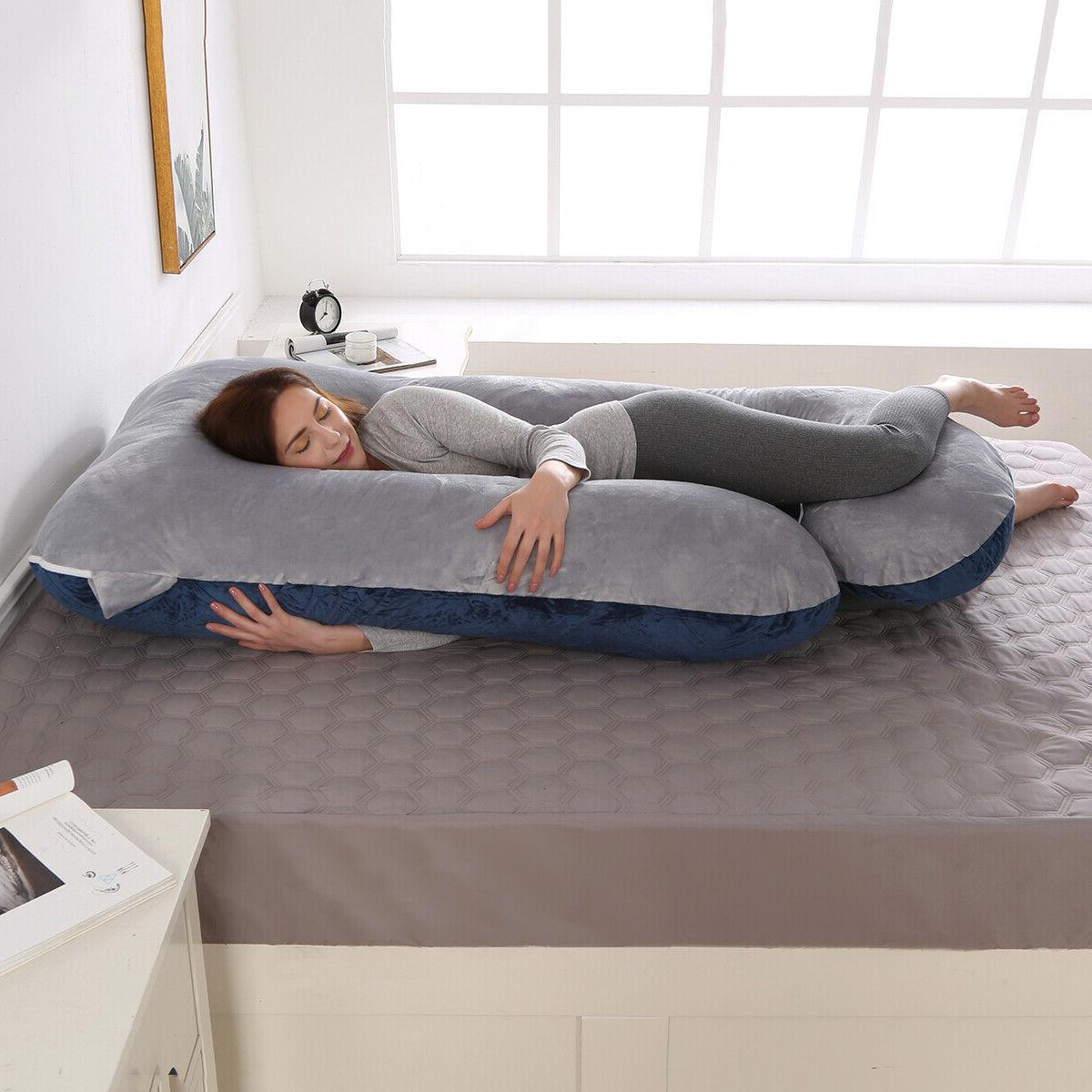 Large J-Shape with Velour Body Maternity Pillow