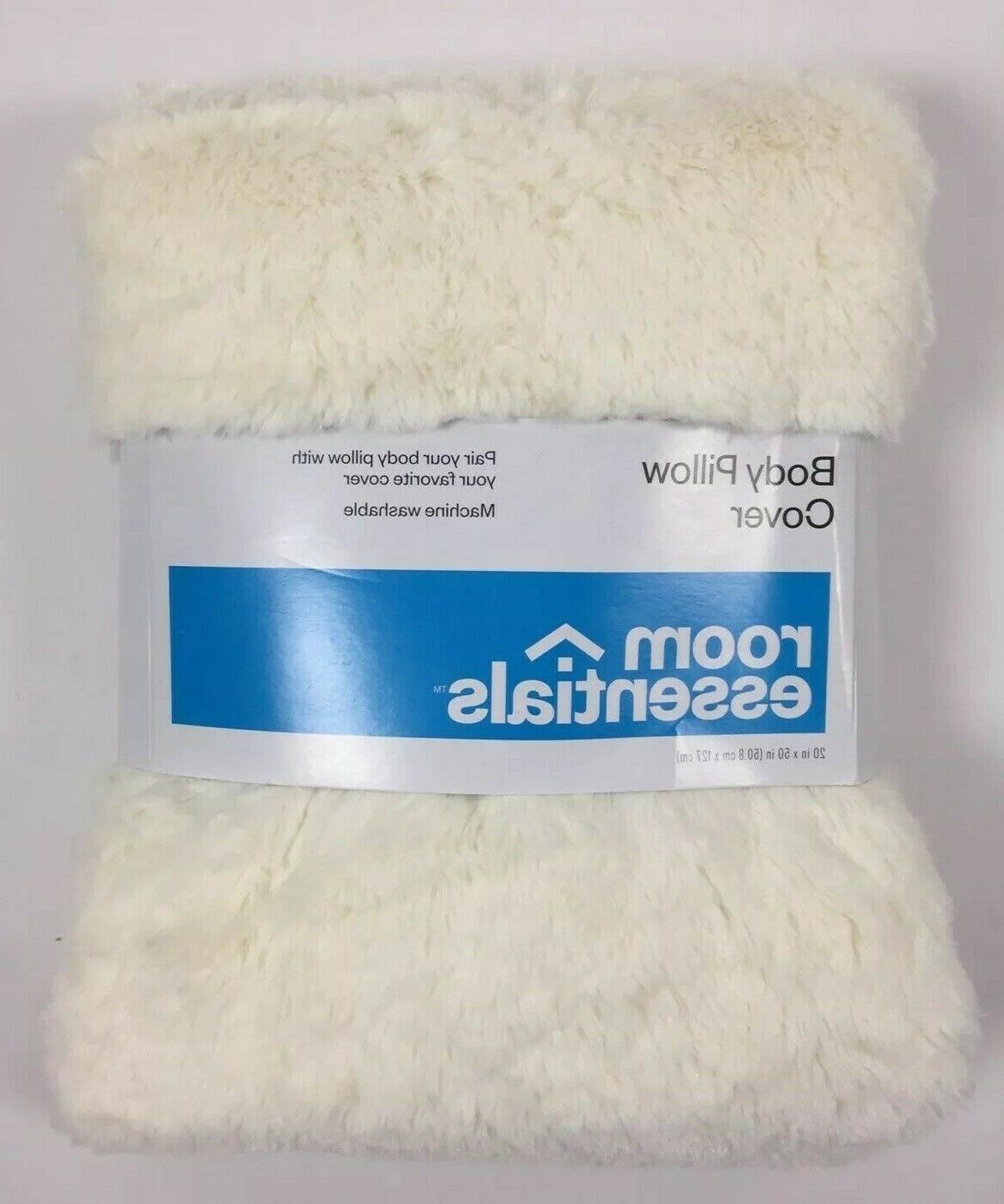 faux fur body pillow cover white