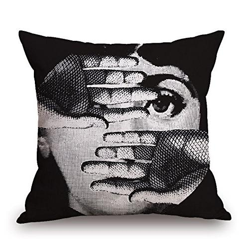 Funny Piero Fornasetti Decoration Pattern Cotton Linen Square Throw Pillowcase Cushion Cover Shell with Invisible Zipper Closure,18x18 inches Pattern 10