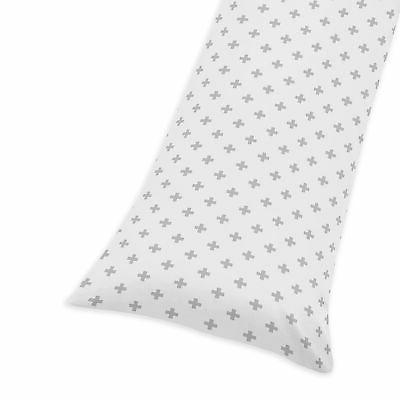 grey white swiss cross pillow