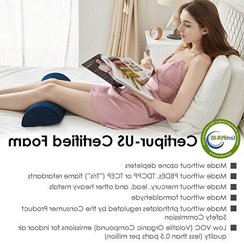 Jiaao Bolster Pillow with Knee Pillow for Relief, Memory Leg Elevator Side & Cover Zipper,