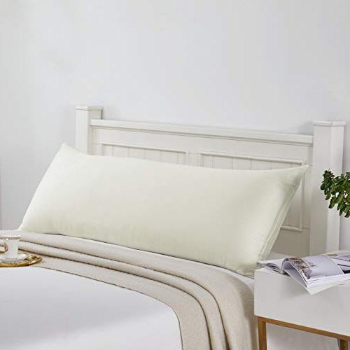 MoMA Top Pillow - High Thread Count Pillowcase - 21 x 54 Case Cream Body Pillow Long