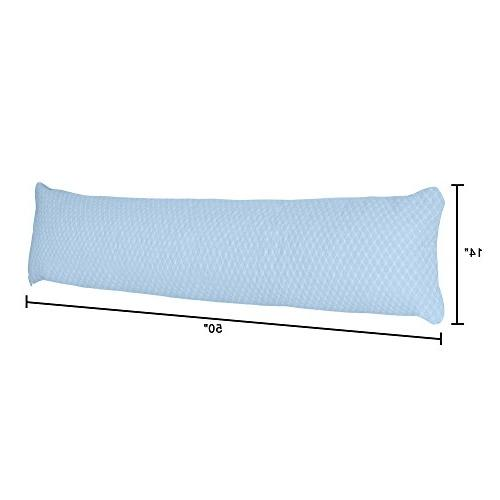 Lavish Memory Body Pillow- Sleepers, Women, Legs and Knees, Hypoallergenic Zippered Protector