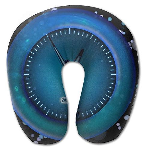 neck pillow blue clock pattern
