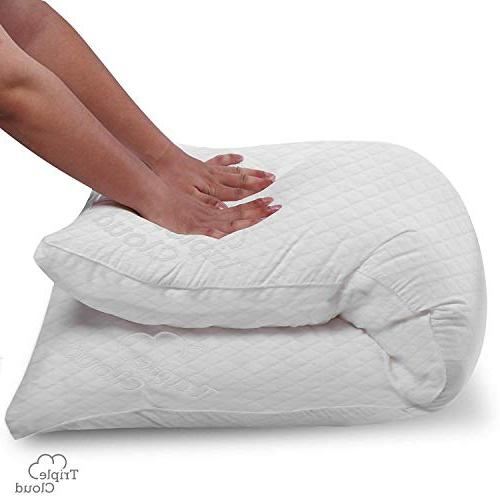 Triple Cloud Body Ultra Bamboo Memory Foam Body Pillow with Breathable Hypoallergenic Fabric x Pillow Cases Covers