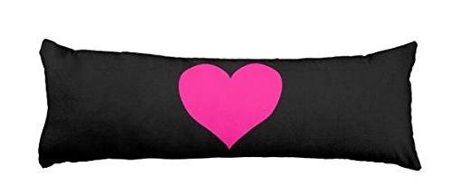 pink heart black pillow cover