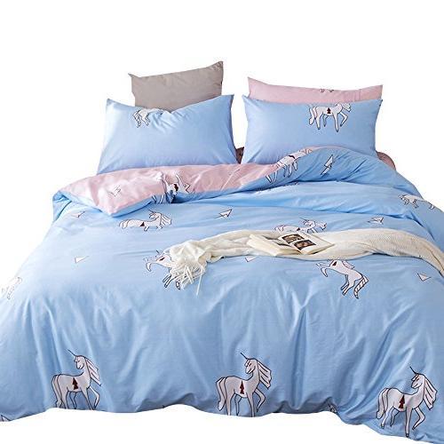 kids cotton pink blue unicorn