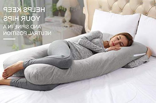 AngQi 55-inch Full Pregnancy Pillow, Shaped Maternity Pain Women, Washable Stretch Jersey Cover, Gray