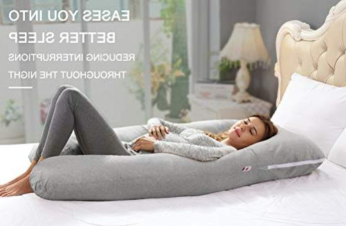 AngQi Full Body Pregnancy Pillow, Maternity Back Pain Pregnant Women, with Stretch Jersey