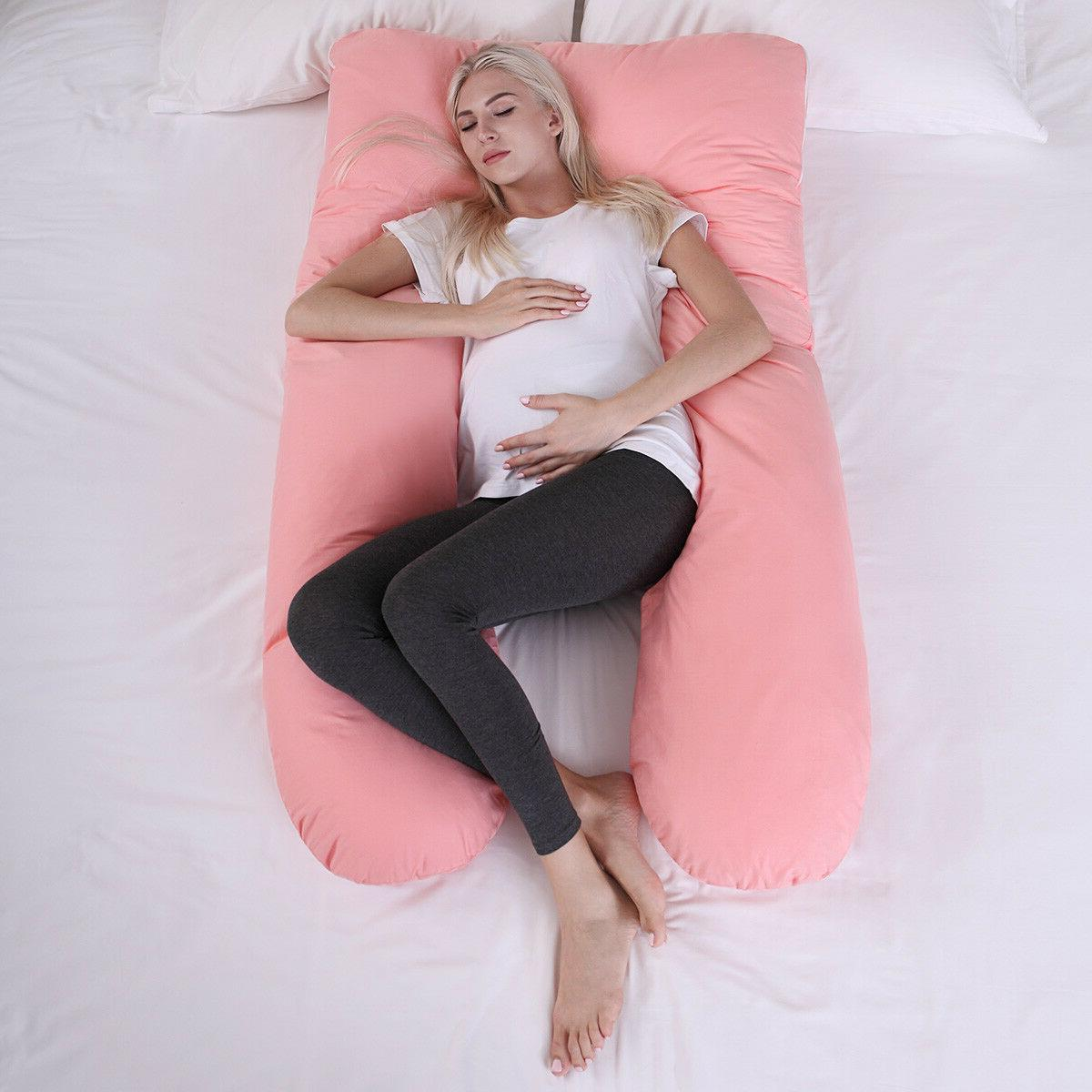 Pink U Shape Total Body Pillow Pregnancy Maternity Sleep Sup