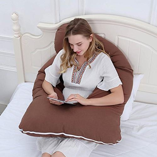 Meiz C-Shaped Maternity Pillow for Sleeping Contoured Support with Cover