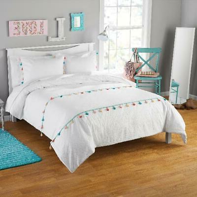 White Tassel Comforter Sham Set Teen Youth Bedding Pillow Fu