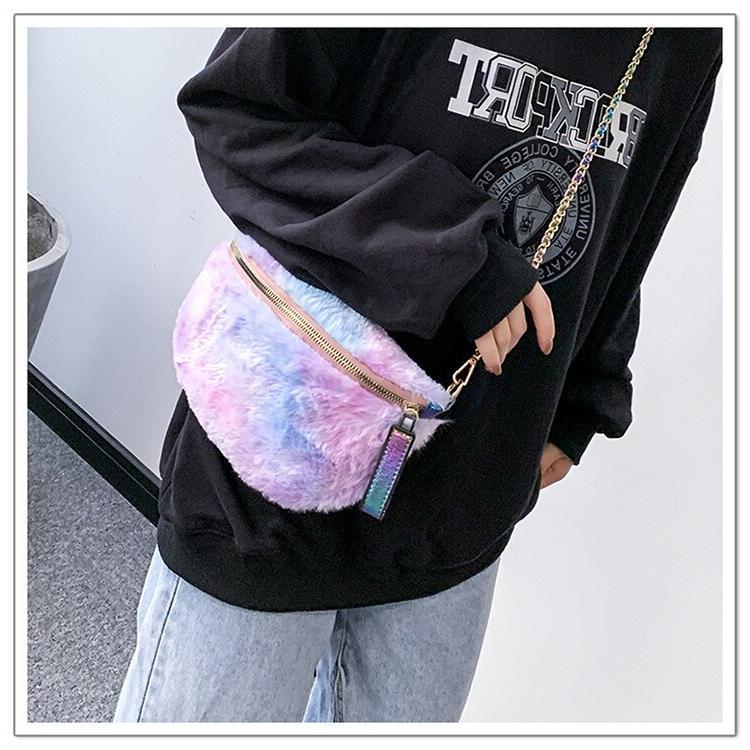 Women <font><b>Faux</b></font> Fuzzy Shoulder Bags Cute Cartoon Chain <font><b>Body</b></font> Ladies Bags Dual