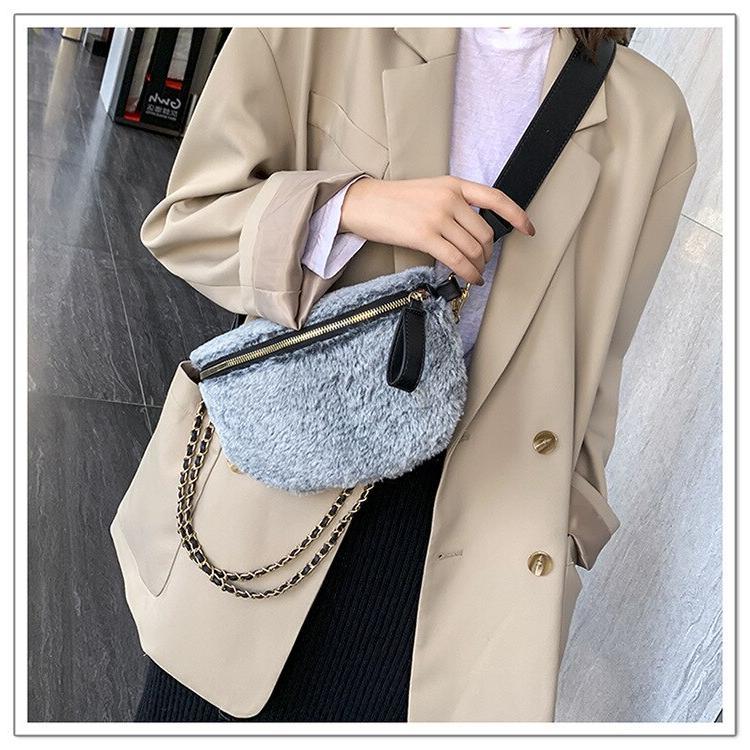 Women <font><b>Fur</b></font> Shoulder Bags Cute Chain Cross <font><b>Body</b></font> Shoulder Bags Dual