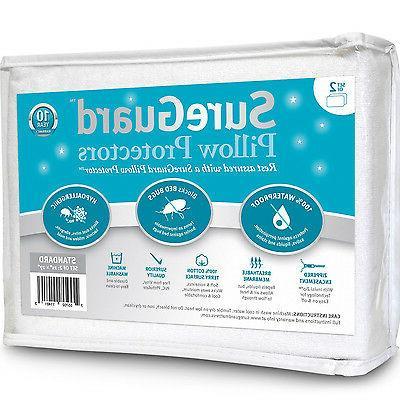 Zippered Pillow Protector Cases Cotton Encasement Hypoallerg