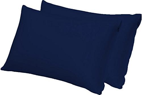zippered pillowcases microfiber solid navy