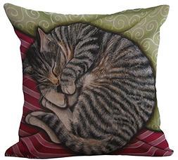 ChezMax Linen Blend Sleepy Cats Pattern Cushion Cover Cotton